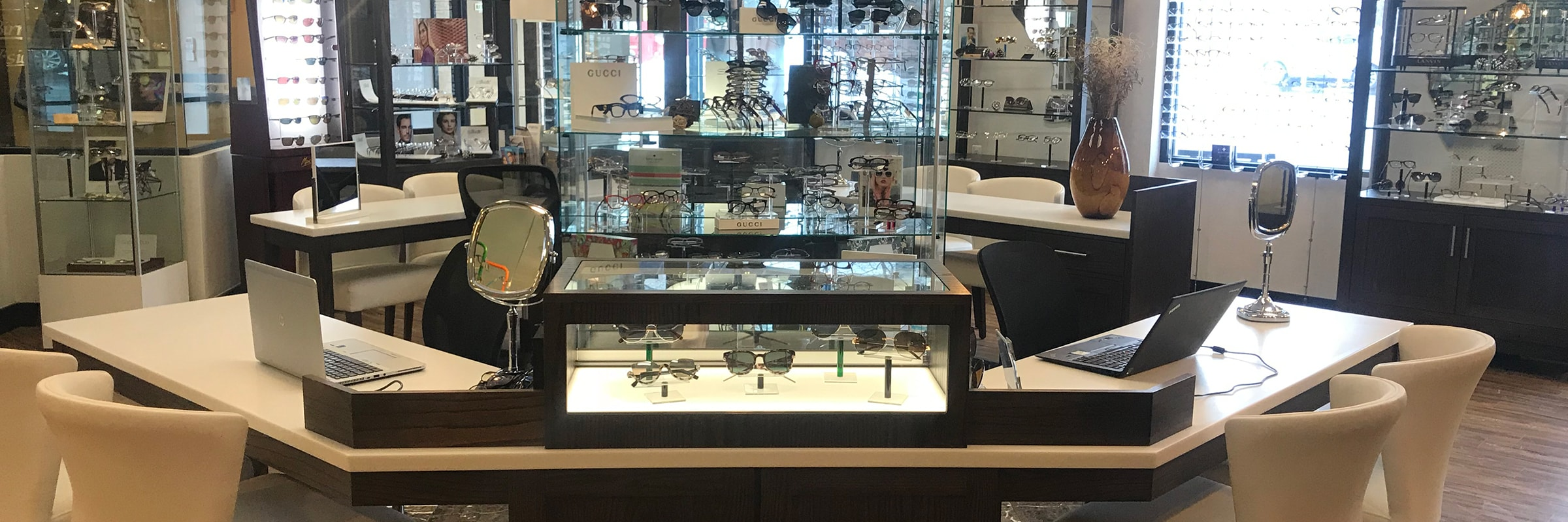 Birmingham Vision Care front office and glasses displays.